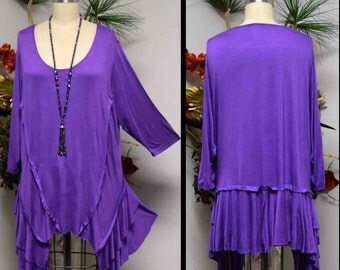 Gotta Have Oversize Lagenlook Plus Size tunic with Crazy cuts. Fits 1xl/2xl/3xl