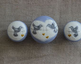 knobs, dresser drawer pulls, upcycled furniture, hand painted knobs, unique decor, lilac and grey, decorative knobs, birds, hearts, gold.