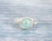 Aquamarine Ring Silver Mint Ring  March Birthstone Ring Aquamarine Gold Ring Any Size Gifts for Her