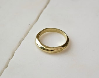 Faceted Ring Wide Gold Ring Chunky Silver Ring Wide Wedding Band