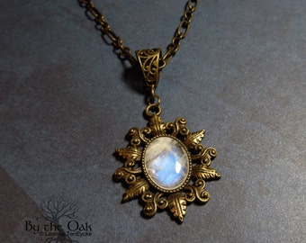 Moonstone Necklace Oak Leaf Antique style Pendant Bronze Leaf Filigree Art Nouveau Womens Jewelry