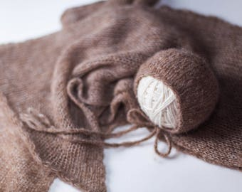 Brushed Alpaca Silk Newborn Wrap and Bonnet Set | Knit | Photography Prop | Soft and Fuzzy