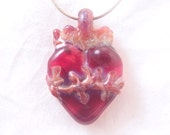 I love you Sacred Heart wearable art borosilicate glass pendant sterling silver satin or cotton necklace art corazon