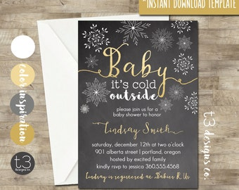Christmas or Winter Baby Shower Instant Invitation, Baby Shower Invitation, DIY PDF, Winter baby shower, snowflake baby shower, gold