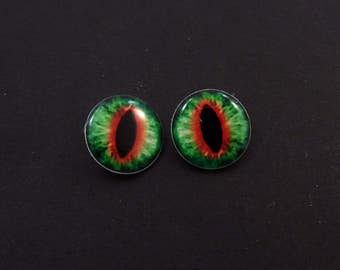 """Dragon Eye Buttons. Set of 2 Red and Green Dragon Eye Sewing Buttons.  Handmade Buttons. Shank Buttons. 3/4"""" or 20 mm."""