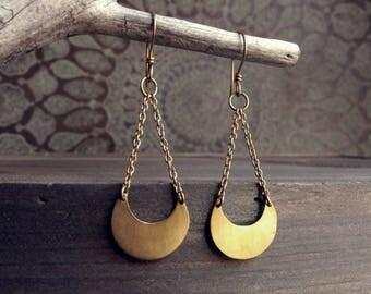 Recycled Brass Moon Earrings