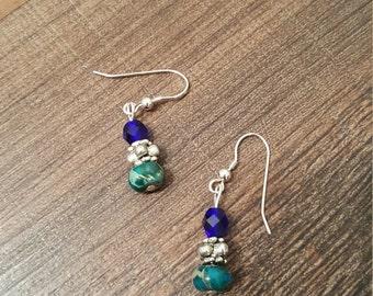 Semi precious stone beaded earrings