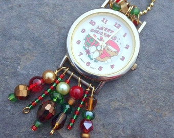 Beaded Christmas Watch Necklace, Christmas Watch, Upcycled Watch, Red and Green Watch