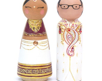 Indian Wedding - Indian Cake Toppers - Wedding Keepsake - Peg Doll Cake Toppers - Wedding Cake Toppers - Custom Cake Topper - Cake Toppers