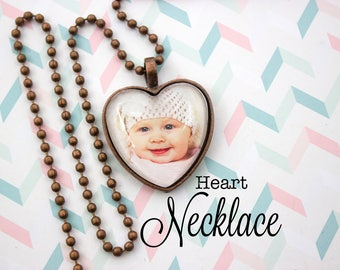 Heart Photo Pendant- Personalized Photo Jewelry - Antique Copper Necklace - Custom Photo Necklace - Picture Necklace - 25 mm Heart