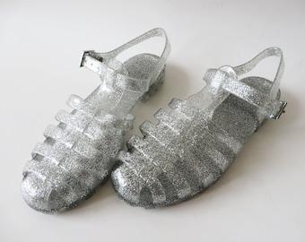 Glittering Silver Jelly Sandals Summer Rain Shoes Transparent Shoes Sparkle Jelly Shoes Boho Hippie Beach Slingback Size UK 4 EUR 37 US 6.5