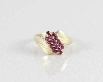 10k Yellow Gold Natural Ruby Ring Size 8