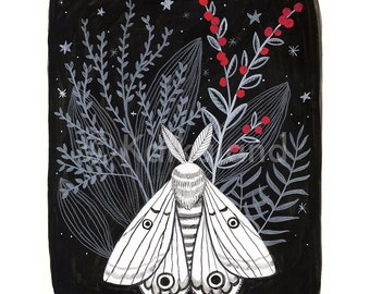Black and white Moth illustration, print 8x10, flora, plants, red berries