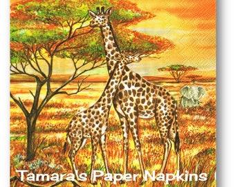 4 Decoupage Napkins, Craft Paper Napkins, 2 GIRAFFES AND ZEBRA Wild Animals 33cm 13 Inch. 2000 Printed Designs for Papercraft, Collage