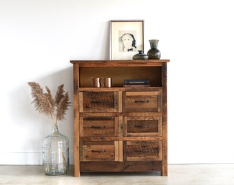 Reclaimed Wood Dresser / Small Wood Buffet Cabinet / 6 Drawers