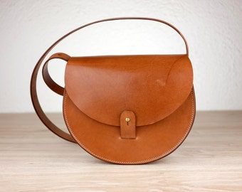 Woman's Leather Purse, Sol Saddlebag, Handmade Crossbody Bag, Brown Purse, Vintage Leather Pouch, Vegetable Tanned Leather Bag, Shoulder Bag
