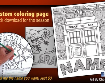 coloring tardis with your name for coloring personalized name page coloring book