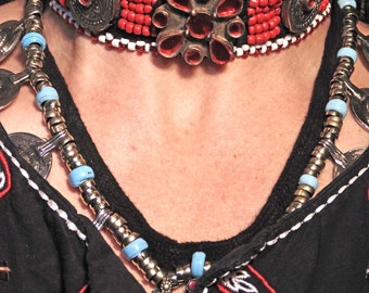 4746- Vintage Style Kuchi Tribal Choker - Kuchi Tribal Boho Ethnic Statement Necklace