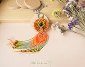 Orange fringe macrame necklace, bohemian necklace, free spirit, boho chic, micro-macrame jewelry, tassel, bright orange green, unique gift
