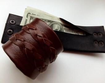 Men's wallet, Travel wallet, Travel accessories, Men Leather Wallet, Travel,  Man gift, Leather Wrist Cuff, Dark brown,