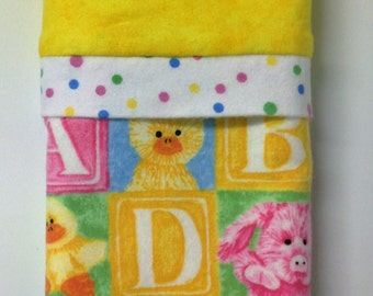 "Travel/Toddler Flannel Pillowcase - ""Bright Blocks"""