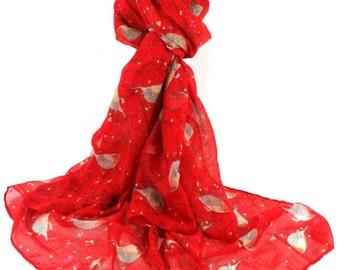 Red Robin Scarf, Ladies Large Robins Wrap Shawl, Bird print scarf, Birds