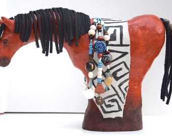 Native American Indian southwest style spirit horse pony model sculpture beaded tack leather Anasazi ancient rock art Mesa Verde pottery