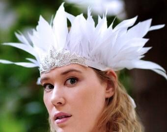 Bohemian Wedding Crown Hair Accessory, White Feather Headdress Crown, Costume Headdress, Bohemian Wedding, Hippie Wedding, Gypsy Wedding