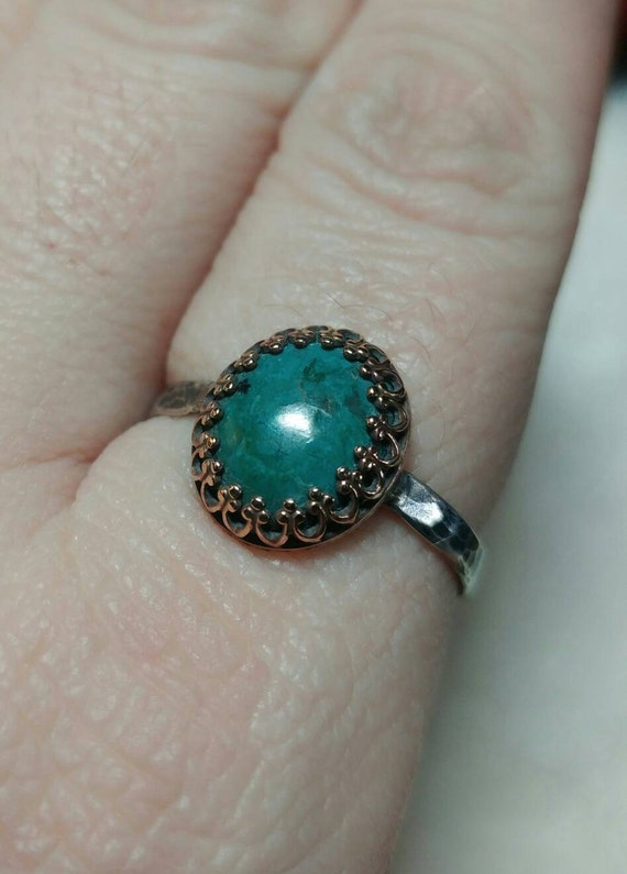 Ocean Blue Stone Ring   Antique Brass Ring   Chrysocolla Ring   Sterling Silver Ring Sz 10.25   Blue Green Gemstone Ring   Mixed Metal Ring