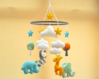 Animal Mobile - Baby Shower Gift - Nursery Mobile - Baby Mobile - Choose Your Own Colours - MADE TO ORDER