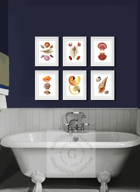 Seashells Bathroom Set Of 6 Art Prints Beach Bathroom Decor
