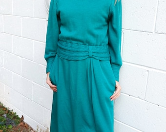 Teal Wool Sweater Dress