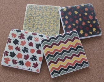 Set of 4 Tumbled Marble Tile Coasters - Autumn Thanksgiving