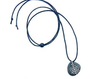 Australian beach stone necklace - Rock pendant - Natural jewellery - Beach jewelry - Ocean pebble - Silver snowflake - Smooth black stone