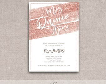 Rose Gold Sparkle Quinceañera/ Mis Quince Años Printable Birthday Invite