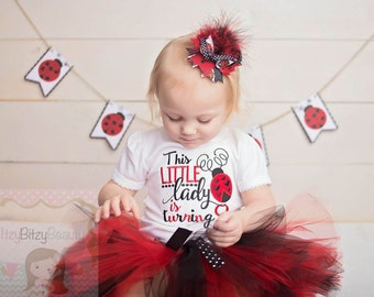 Lady Bug Birthday Outfit Little Lady Turning One Three Two First Second Third Birthday TUTU Outfit OTT Feather Headband Hair Clip Bow