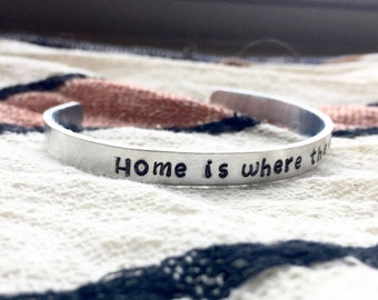 Handstamped Bracelet, Home Is Where The Heart Is, Layering Cuff, Housewarming Gift, Present For New Homeowners, New House 2017, Long Distanc