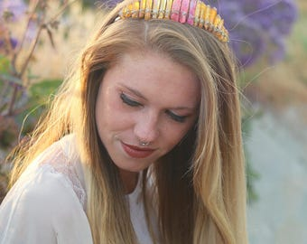 Aura Crystal Crown // Mermaid Crown - Mermaid Jewelry // Festival Clothing - Festival Accessories // Boho Jewelry - Bridal Hair Piece