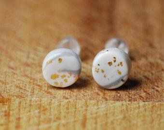 Tiny Stud Earrings - For Sensitive Ears - Hypoallergenic Studs - Polymer Fimo Jewellery - Little Earrings - Nickel Free Plastic Posts -