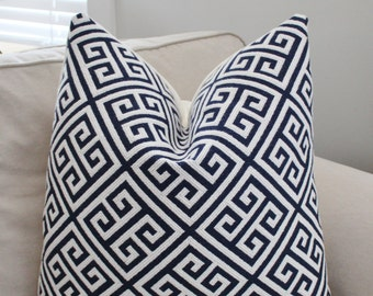 Thibaut Pillow Cover // Mykonos Navy White Greek Key Decorative Designer Pillow Cover 20x20 22x22