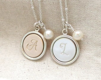 Mother of the groom gift Mother of the bride gift Initial jewelry Mother of the bride necklace Personalized necklace Mom Initial necklace