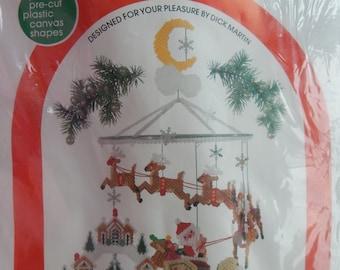 Santa Mobile Plastic Canvas Kit/ Leisure Arts Canvas Capers Pop Out Pre Cut Plastic Canvas Shapes/ Christmas Decoration/ Sealed