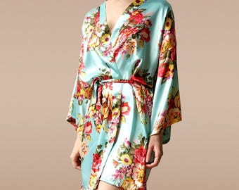 bridesmaid gift robes, bachelorette party robes, bridal party robes, satin bridesmaid robes, satin floral robe, floral bridesmaid robes,