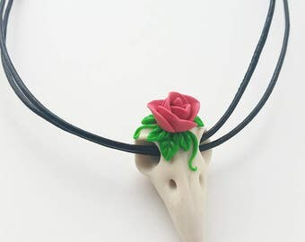 Rosie Clay Bird Skull Pendant
