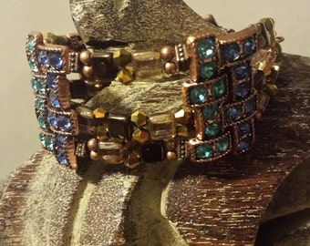Cuff Bracelet Copper with Blue and Turquoise Crystals