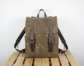 Waxed canvas backpack/ Canvas rucksack/ Leather backpack/ Waxed canvas bag/ Laptop backpack/ Travel backpack/ School backpack/ School bag