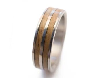 Oak Wood Ring and Titanium - mens wood ring, mens wedding ring, Oak Ring, Wood Rings For Men, wood wedding rings, wood mens wedding bands