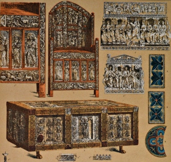 Byzantine furnitures, ornaments and reliefs. Middle Ages. Antique print, 1894. History engraving. 123 years old print.  11,5 x 8,4 inches.