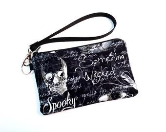 Wristlet, Skull Bag, Goth Purse, Womens Wallet, Gothic Bag, Clutch Purse, Clutch Wallet, Cell Phone Wallet, iPhone 7 Wallet, iPhone 6