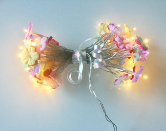 40 colored flowers fairy lights - led lights - 40 led fairy lights - Flower string lights